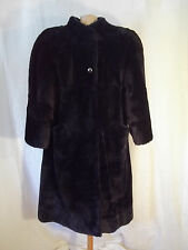 WOMEN'S BEAVER FUR LONG COAT NAVY SIZE MEDIUM/LARGE VISCARDI FROM JAPAN
