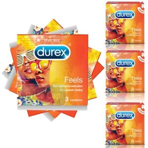 3 x Durex Feels Condoms | Designed For Extra Pleasure Safe | Comfort Fit
