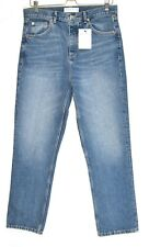 Topshop High Waisted EDITOR Straight Leg Blue Cropped Jeans Size 12 W30 L32