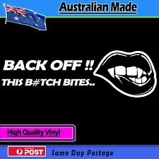 Vinyl Car Sticker - Back Off (white) Funny Decal Bumper Vampire