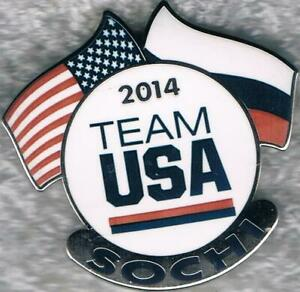 2014 Sochi Dual Flags Large USA Flag USA Olympic Team NOC Pin 2022 Trader