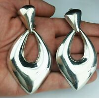 Vtg Taxco Mexico 925 Sterling Silver Modernism Clip Large Dangling Earrings