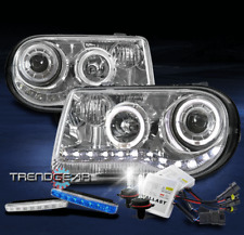 FOR 2005-2010 CHRYSLER 300C HALO LED CHROME PROJECTOR HEADLIGHT+BLUE DRL+HID KIT