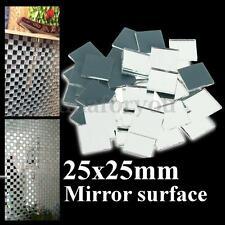 "25mm 1"" Inch Silver Mini Small Square Glass Mirror Bulk 100g Mosaic Tiles"