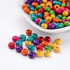 200pcs DIY Jewelry Mixed Dyed Lead Free Wood Round Beads 6x5mm