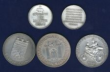 SWITZERLAND 1951-1961  SHOOTING MEDALS, MISC. SILVER MEDALS LOT OF (5)