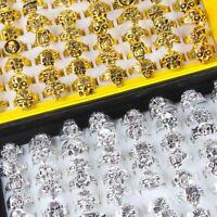 100pcs Mix Lot Skull Silver/Gold/ Men's Rings Jewelry Biker Punk Ring Xmas Gifts