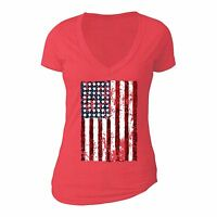 American Flag distressed 4th of July T-shirt Clothing USA Pride Shirt Red