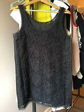 EUC J.crew dark gray flower silk slip lace sleeveless dress, sz XS S 00