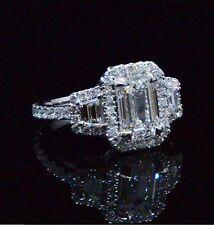 New 2.57 Ct. Halo Emerald Cut Eternity Round Diamond Engagement Ring H,VS2 EGL