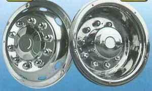 "set 19.5"" stainless steel wheel trims antitheft fixing extra deep rear"
