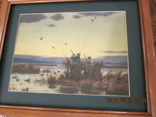 duck hunting picture by A.Lassel Ripley framed wood collectible
