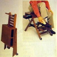 Seggiola pieghevole per pulizia scarpe con cassetti porta lucidi, legno naturale