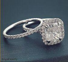 Diamond Engagement Ring Set E,Vvs2 Gia 18K All Natural 3.18 Ct Halo Cushion Cut
