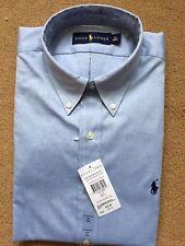 """Ralph Lauren Men's Core Solid Pinpoint Long Sleeve Blue Shirt, Size 16""""/ 40/41cm"""