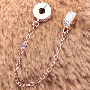 Authentic 925 Sterling Silver Clear Pavé Safety Chain Clip Charm Moment Bracelet