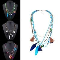 Hot Fashion Bohemia Charm Feather Tassel Beaded Pendant Long Chain Necklace  AE