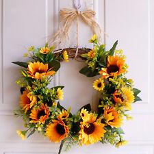 Artificial Sunflower Summer Wreath with Green Leaves Front Door Indoor Wall Deco