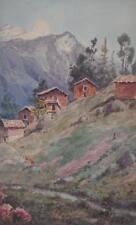 Alpine Village Charles King (British Schl 19th/20thC) Antique Watercolour c1900