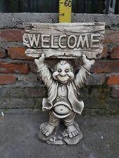 XXL Stein Figur Gnom Welcome Massive große Troll Wichtel aus Steinguss F0002