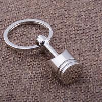 1pc Silver Metal Auto Car Originality Engine Part Piston Model Alloy Keychain ba