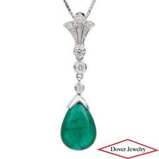 Estate Diamond 8.93ct Emerald 18K White Gold Dangle Drop Pendant Enhancer NR