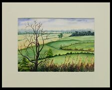 """Ray French """"Indiana Landscape"""" 10"""" x 15"""" Watercolor on Paper"""