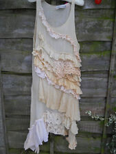 RITANOTIARA ONE SIZE CREAM LONG VINTAGE LACE DRESS TEA SHIFT GATSBY EDWARDIAN