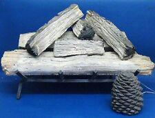 Robert H Peterson Fireplace Split Oak Ceramic Log Set with Pine Cone Remote