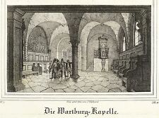 Eisenach-Wartburg-capilla-Saxonia - litografía 1839
