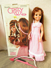 1974 TWIRLY BEADS CURLY HAIR  VINTAGE IDEAL CRISSY GROWING HAIR DOLL WITH BOX