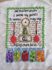 HAND EMBROIDERY PIECE TO FRAME OR MAKE CRAFT PROJECT GUESTS LIKE KITCHEN BEST