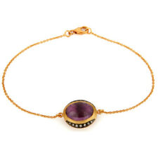 18K Gold Over Silver CZ And Amethyst Gemstone Bracelet Special Jewelry