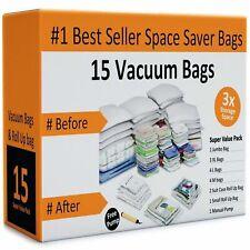 Pack of 15 Vacuum Storage Bags Air Tight Seal Closet Space Saving Organize
