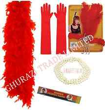 1920s RED CHARLESTON  CIGARETTE HOLDER PEARL GLOVES BOA WOMENS FANCY DRESS SET