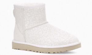 RARE! NWT + Box UGG Australia Women's 8 Classic Mini Snow Leopard WHITE Boots