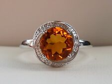 Citrine & Diamond Solitaire Swirl Halo Promise Ring Band- 10K White Gold- Size 8