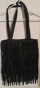 Black fringe hobo purse bag. Man made Material.Hippie Chic look or western wear.