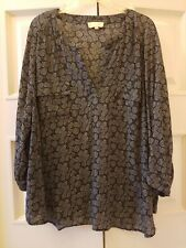 Lucy & Laurel Anthropology 2X Black White Long Sleeve Shimmy Shake Top Blouse