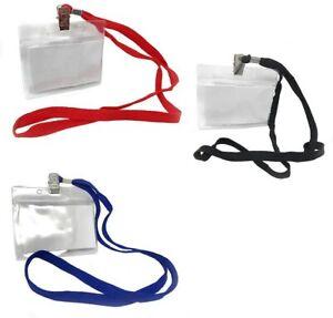 Porta badge da collo 12 pz plastica trasparente con laccio cartellino portabadge