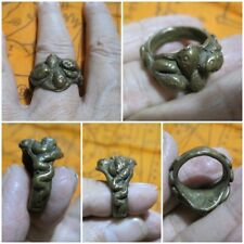Ancient Brass Ring Size 9 LP Oim & 4 Snakes Thai Rare Amulet A15