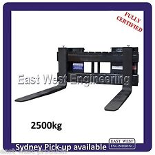 SKID STEER QUICK HITCH PALLET FORKS 2500kg QSS25E CLASS 2 FULLY CERTIFIED