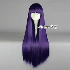 Lolita Dark Purple Long 80CM Straight Fashion Cosplay Wig with Bangs + Wig Cap