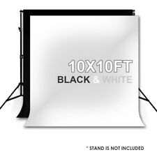10X10FT Photography Photo Video Studio Black White Backdrop Background Muslin