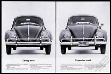 1963 VW Volkswagen Beetle car photo Cheap New Expensive Used 20x13 print ad