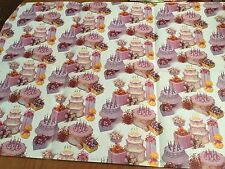 VTG Gift Wrap Paper NOS Sheet 20x28 Hallmark USA STUNNING! Cakes Gifts Flowers