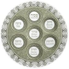Glass Seder Plate for Passover with Brown Ornamental Design 40cm UK44242 Pesach