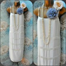 Asos new white bead 20s deco flapper gatsby vtg wedding evening cami dress 8 36