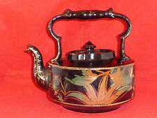 Stylish Antique Victorian Blackware or Jackfield Teapot with Humming Birds