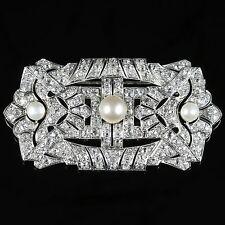 Antico Art Deco Diamond Pearl SPILLA 18ct Bianco Oro 11ct di diamanti